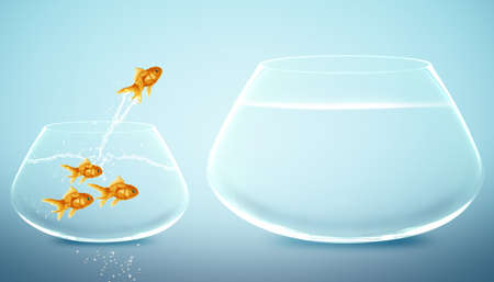 good idea: goldfish  jumping to Big bowl, Good Concept for new life, Big Opprtunity, Ambition and challenge concept. Stock Photo