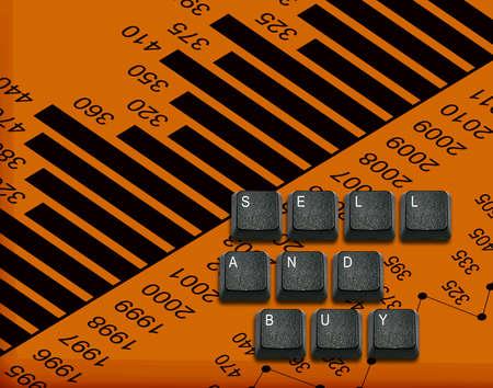 imaginary dialogue: Palabra de vender y comprar Hecho de teclas del teclado de ordenador, los botones del teclado con las ideas.