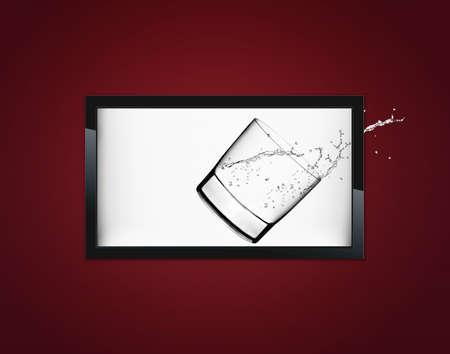 flat screen tv: Black LCD tv screen hanging on a wall