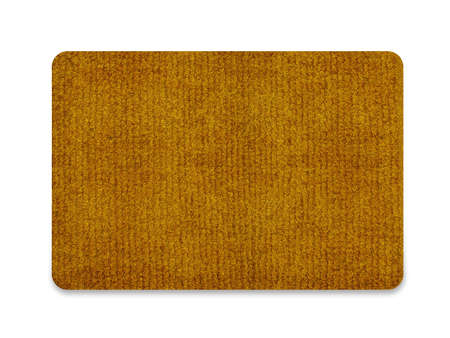 Brown welcome carpet, welcome doormat carpet isolated on white.  Stock Photo