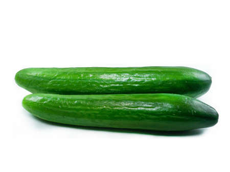 Fresh Cucumber over white background photo