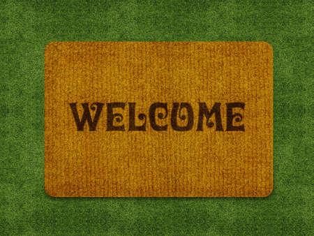 bienvenidos: Brown ceremonia oficial de bienvenida, la alfombra tapete de bienvenida aislado en blanco.