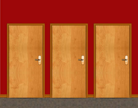Three apartment wooden door. photo