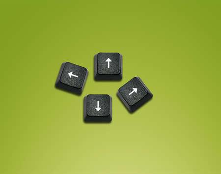 imaginary dialogue: Flechas las direcciones de Word Hecho de teclas del teclado de ordenador, los botones del teclado con las ideas.