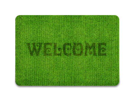 floor mats: Brown welcome carpet, welcome doormat carpet isolated on white.  Stock Photo