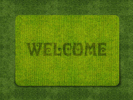 Brown welcome carpet, welcome doormat carpet isolated on white.  photo