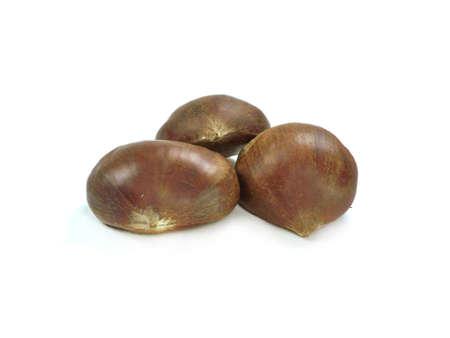 chestnuts on white background   photo