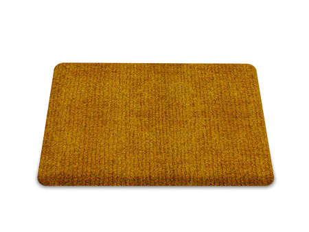 dirty carpet: Brown welcome carpet, welcome doormat carpet isolated on white.  Stock Photo