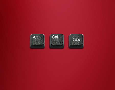 imaginary dialogue: Palabra alt y control y borrar teclas del teclado, los botones del teclado con las ideas. Foto de archivo
