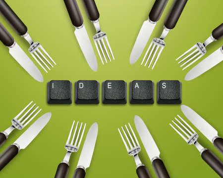 imaginary dialogue: Cuchillo, tenedor y el teclado los botones con las ideas, Foto de archivo