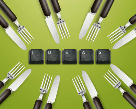 imaginary dialogue: Knife, Fork and keyboard buttons with ideas,