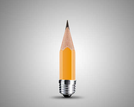 inscription: conceptual pencil image, Sharpened Yellow pencil isolated on white background.