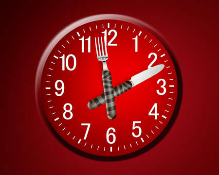 Lunch time concept, clock in plate, knife and fork  photo