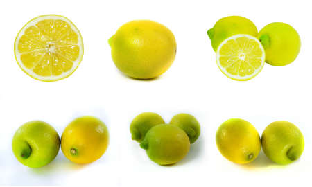 adjuvant: Fresh Lemon on white background. Stock Photo