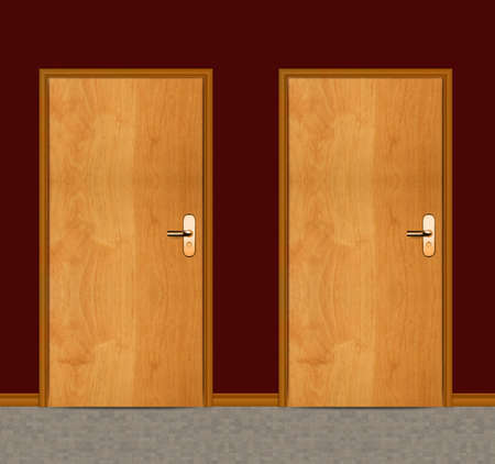Two apartment wooden doors. photo