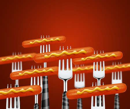 set of hotdog pierced by forks photo
