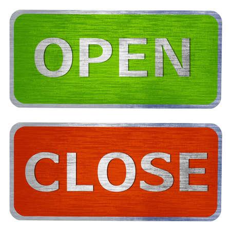 fermer la porte: Ouvrez et fermez la porte des signes isol�s sur un fond blanc. Banque d'images