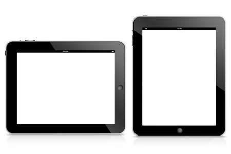 tablet computer isolated on black background photo
