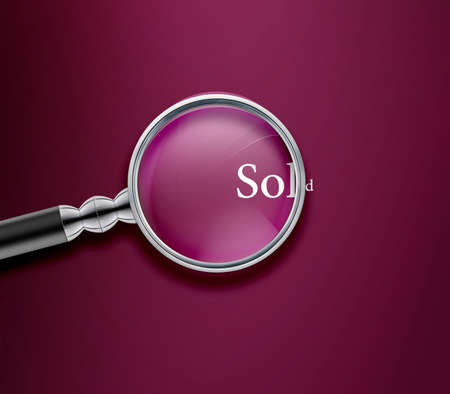 Magnifying glass with Sold word on Vinous background. Stock Photo - 13251454