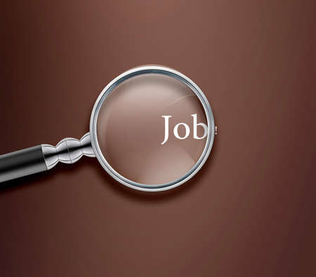 magnified: Magnifying glass with Job word on Brown background. Stock Photo