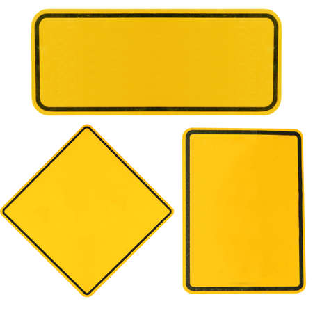 blank Yellow highway road signs isolated on white.