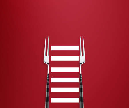two parts fork with striped way, fitness way. Stock Photo