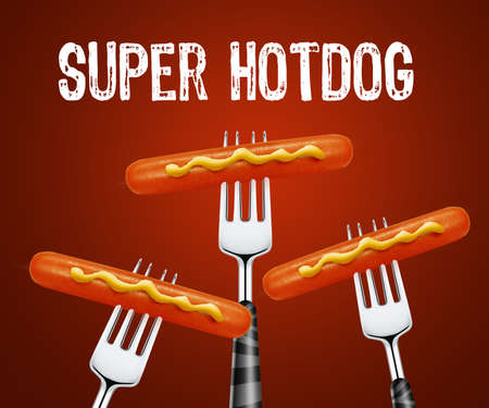 set of hotdog pierced by forks photo