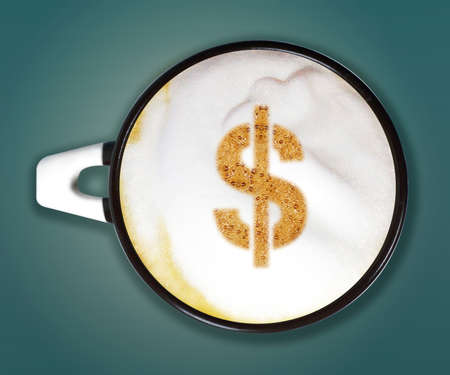 coffee art, A cup of cappuccino with Dollar sign on blue background.  Stock Photo - 13251786