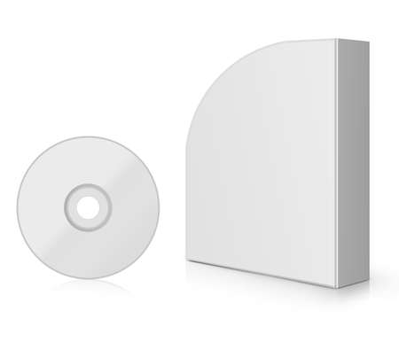 Modern Software Box, blank box with DVD or CD. photo