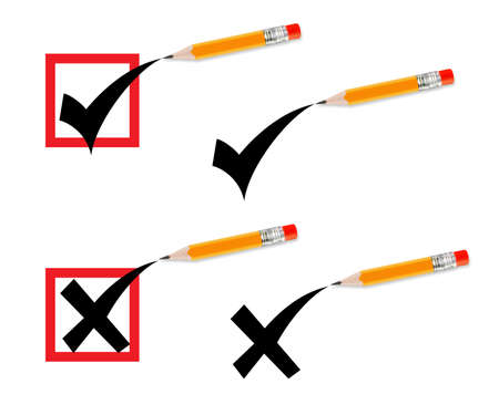 yellow pencil makes a check in a check-box. photo
