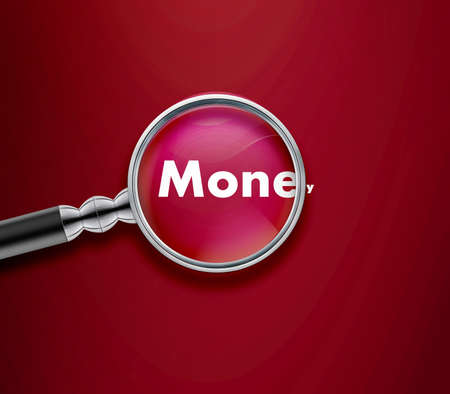 Magnifying glass with Money word on Red background. Stock Photo - 13252149