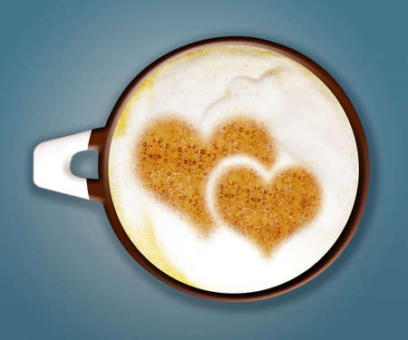 coffee art, A cup of cappuccino with two hearts shape on blue background.  photo