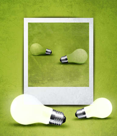 light bulb made in and out of photograph  , light bulb conceptual Image. photo