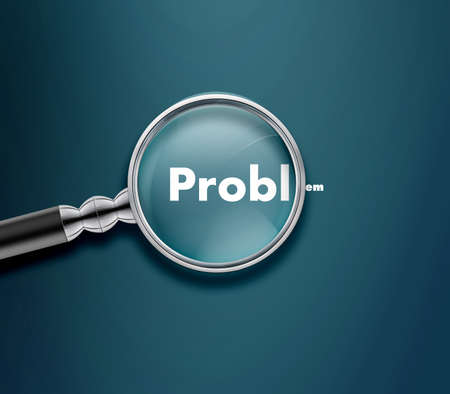 magnified: Magnifying glass with Problem word on blue background. Stock Photo