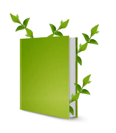 blank book cover: front view of Blank book cover white and green leaves. Stock Photo