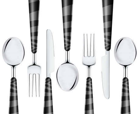 Fork spoon and knife isolated on white background  photo