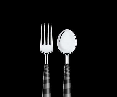 Fork and spoon isolated on black background. photo