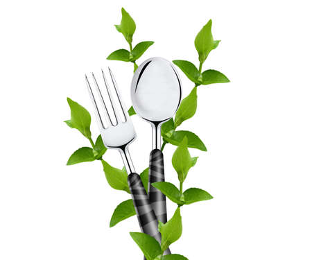 close up food: green leaves around spoon and fork isolated on white background.