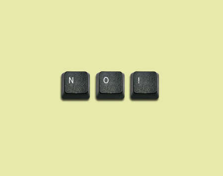 Word No Made From Computer Keyboard Keys, keyboard buttons with ideas. photo