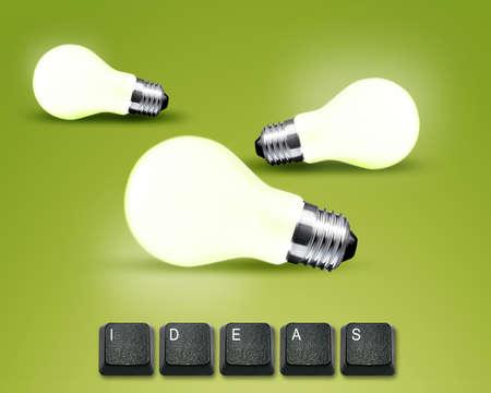imaginary dialogue: botones del teclado con la palabra de ideas y la luz blub