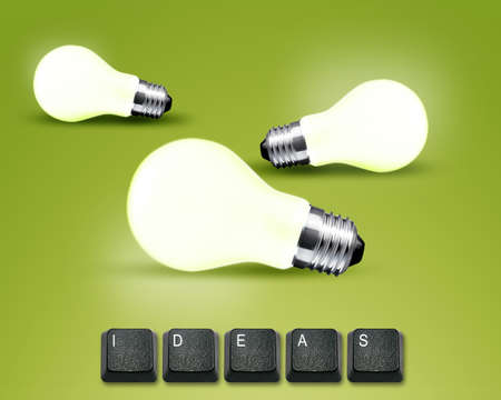 keyboard buttons with ideas word and light blub  Stock Photo - 13252584