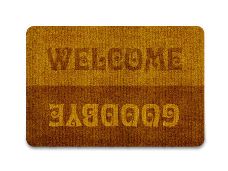 straw mat: Brown welcome carpet, welcome doormat carpet isolated on white.  Stock Photo