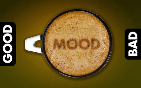 good mood: coffee art, A cup of cappuccino with mood status.