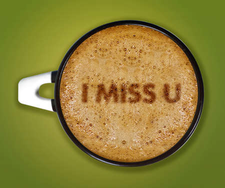 i miss you: coffee art, A cup of cappuccino with i miss you  Stock Photo