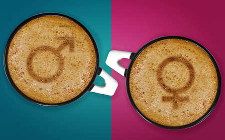 coffee art, A cup of cappuccino with male and female signs. photo