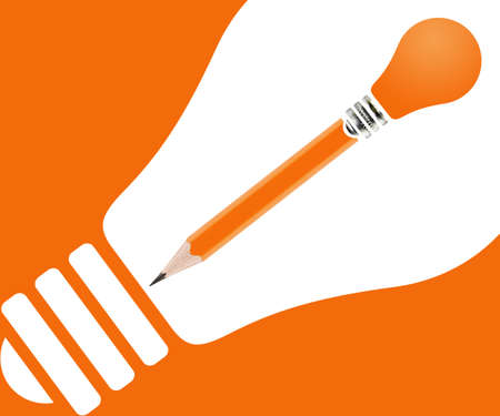 pencils and light bulb on orange background. photo