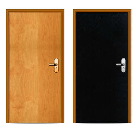 Interior Black and brown apartment wooden door isolated on white. photo