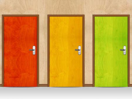Red, Green, Yellow wooden doors.   photo