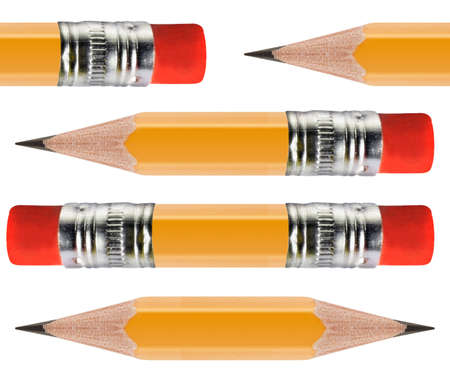 description: Sharpened Yellow pencil in group of pencils isolated on white background. Stock Photo
