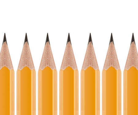 office supply: Sharpened Yellow pencil in group of pencils isolated on white background. Stock Photo